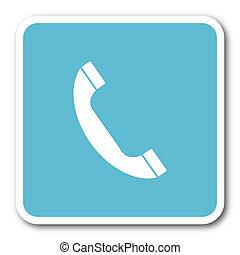 phone blue square internet flat design icon