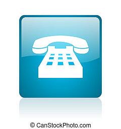 phone blue square web glossy icon