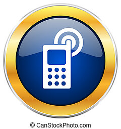 Phone blue web icon with golden chrome metallic border isolated on white background for web and mobile apps designers.