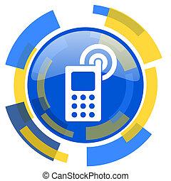 phone blue yellow glossy web icon