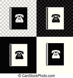 Phone book icon isolated on black, white and transparent background. Address book. Telephone directory. Vector Illustration
