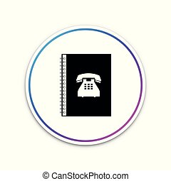 Phone book icon isolated on white background. Address book. Telephone directory. Circle white button. Vector Illustration