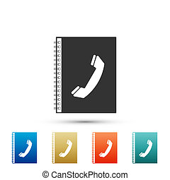 Phone book icon isolated on white background. Address book. Telephone directory. Set elements in colored icons. Flat design. Vector Illustration