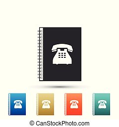 Phone book icon isolated on white background. Address book. Telephone directory. Set elements in color icons. Vector Illustration