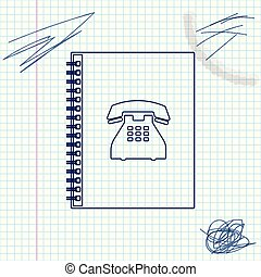 Phone book line sketch icon isolated on white background. Address book. Telephone directory. Vector Illustration