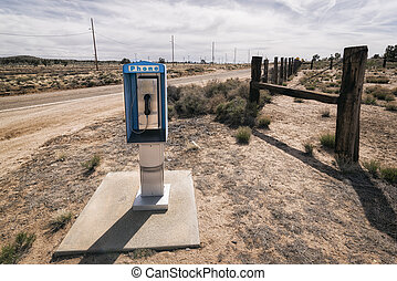Phone Booth along a Road, California