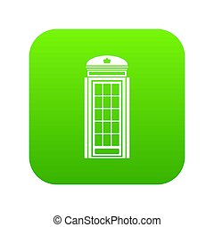Phone booth icon digital green