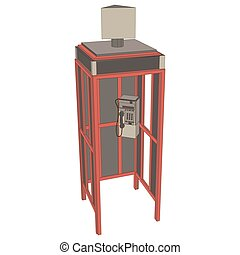 Phone booth telephone London vector box red illustration English icon England isolated old