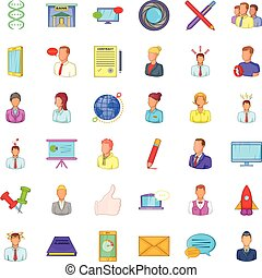 Phone business icons set, cartoon style