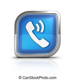 Phone Call Blue Icon Sign