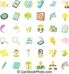 Phone call icons set, cartoon style
