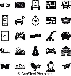 Phone call icons set, simple style