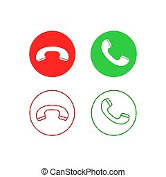 Phone call line icon set. Accept call and decline button. Green and red buttons with handset silhouettes. Vector icons