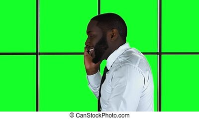 Phone call on green background.