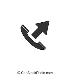 Phone call outgoing icon flat
