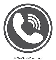 Phone Call solid icon, contact us and website button, vector...