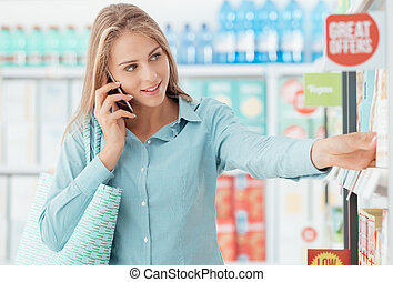 Phone calling at the shopping mall