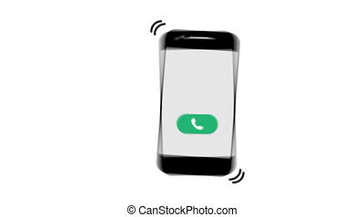 Phone calls. transparent background. the Smart Phone rings. flat.