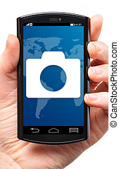 mobile camera icon on touch screen phone, cut out from white.