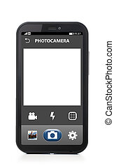 mobile camera interface on touch screen phone, cut out from white.
