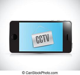 phone cctv sign illustration design