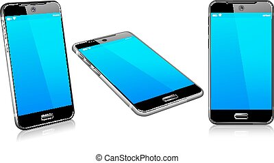 Modern cell mobile phone on a white background with reflection