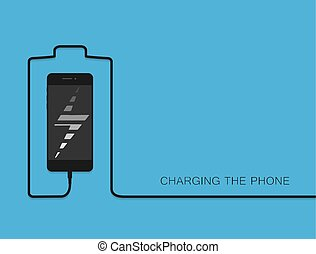 Phone charging with energy bank. Smarthone with line wire. Minimalism Outline earphone. . Eps10. Trendy simple Vector illustration banner, card, template for your design