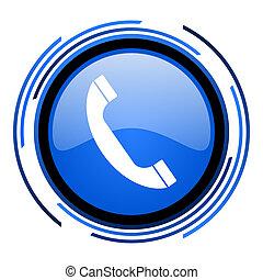 phone circle blue glossy icon