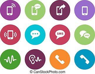 Phone circle icons on white background.