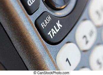 Phone closeup photo with talk button in selective focus. This is a macro image of the communication tool and can be used in blogs and websites.