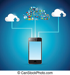 phone cloud computing icon network illustration