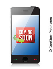 phone Coming soon message illustration design over a white...