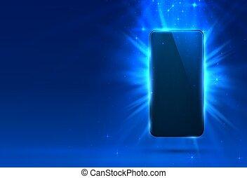 Phone cover blue color design modern background.