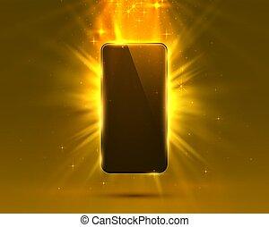 Phone cover orange color design modern background.