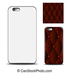 Phone cover. Reverse side of smartphone. Leather texture...