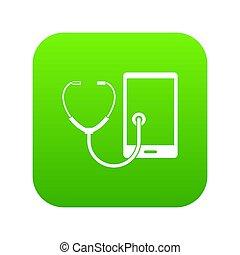 Phone diagnosis icon digital green