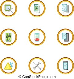Phone diagnostics icons set, cartoon style