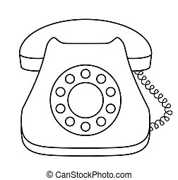 Phone desktop dial old-fashioned with receiver, isolated, contour