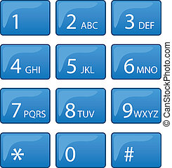 Isolated phone dial pad with blue buttons