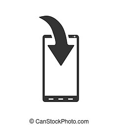 Phone Download Notification icon flat