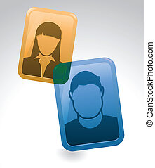 Phone Face Chat Conversation - Two people chat over the...