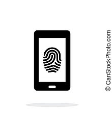 Phone fingerprint icon on white background.