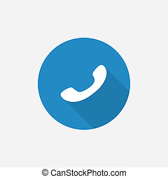 Phone Flat Blue Simple Icon with long shadow