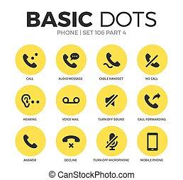 Phone flat icons vector set