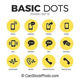 Phone flat icons vector set