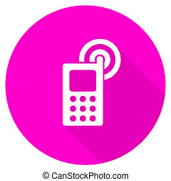 phone flat pink icon