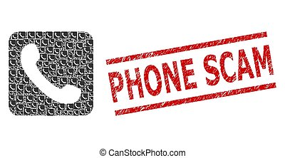 Phone Fractal Composition of Phone Icons and Scratched Phone Scam Stamp