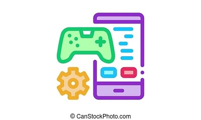 phone game app Icon Animation. color phone game app animated icon on white background