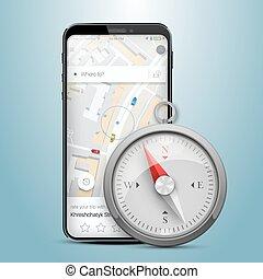 Phone gps navigation map compass.