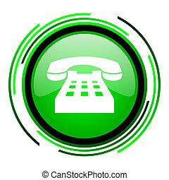 phone green circle glossy icon